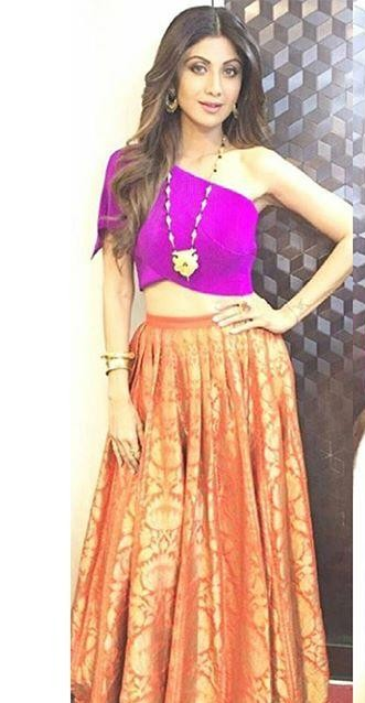 find me this pink and orange silk lehenga which Shilpa Shetty is wearing on an indian website - SeenIt