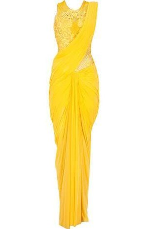 looking for this yellow draped saree - SeenIt