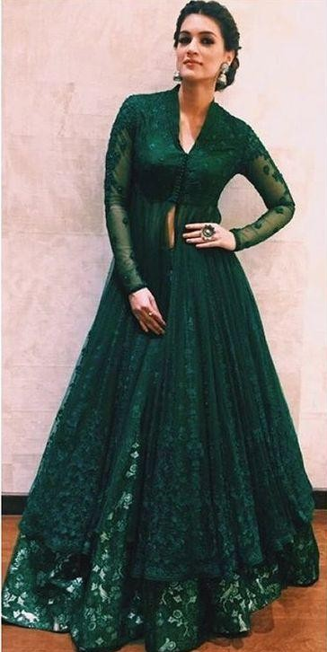 Looking for a similar green lehenga like the one which Kriti Sanon is wearing - SeenIt