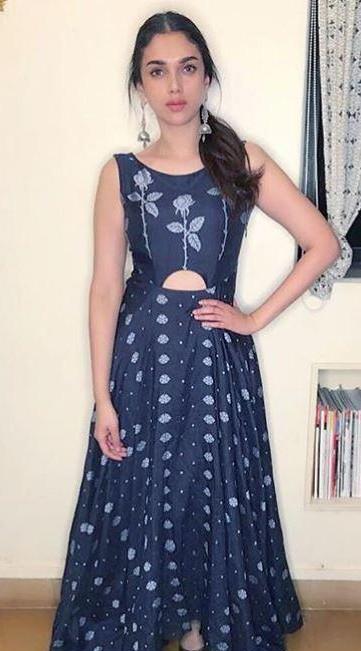Looking for this similar navy blue floral maxi dress that Aditi Rao Hydari is wearing - SeenIt