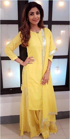 Help me find this exact same yellow kurta set that Shilpa Shetty is wearing - SeenIt