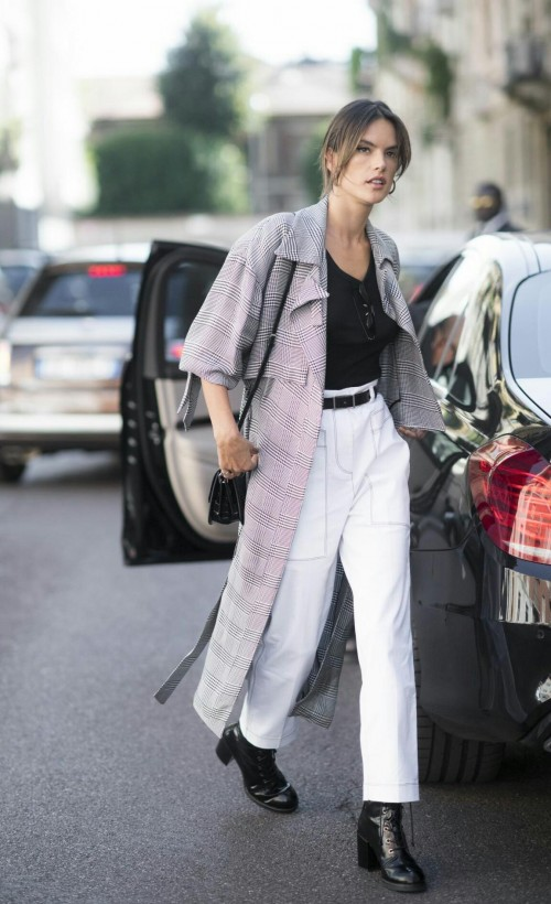 Want the outfit which Alessandra Ambrosio is wearing ,this whole outfit is 🔥 , white pants , full length jacket and top - SeenIt