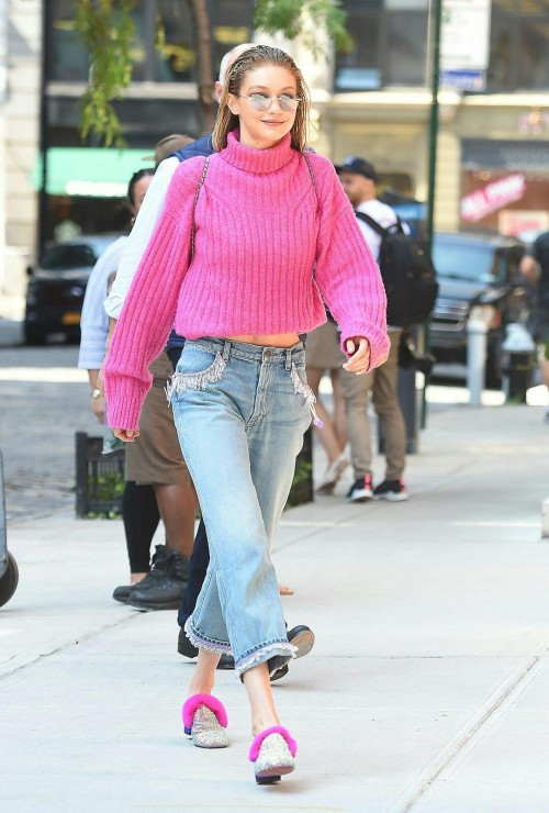 Want the pink ribbed turtleneck sweater, blue jeans and the shoes and sunglasses which Gigi Hadid is wearing - SeenIt