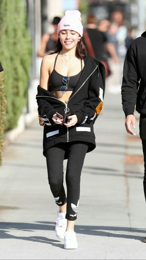Want the black bralet, black leggings, white beanie , white sneakers and the black jacket which Madison Beer is wearing - SeenIt