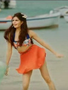 Want a similar bikini top and orange skirt like the one which Jacqueline Fernandez is wearing - SeenIt
