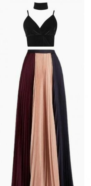 Want the colour block maxi skirt and the black croptop - SeenIt