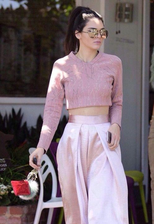 Want the pink croptop and pink silk trousers which Kendall Jenner is wearing Indian Site Please. - SeenIt