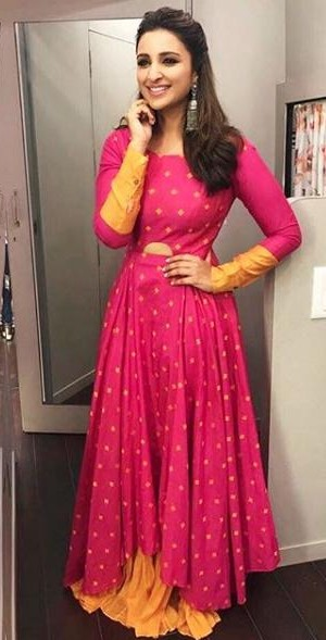 Want a similar pink lehenga like the one which Parineeti Chopra is wearing for Golmaal promotions - SeenIt