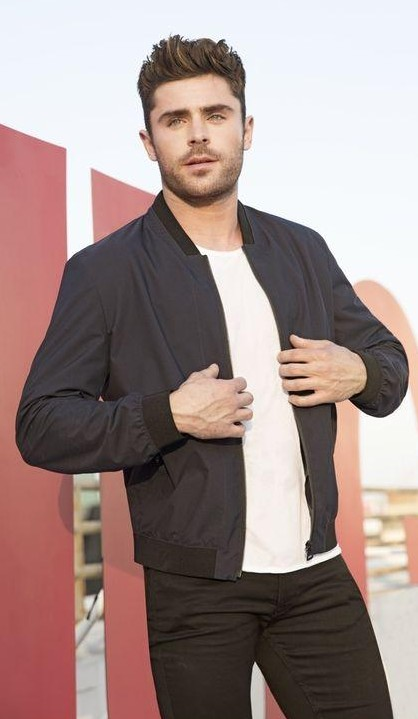 help me find a similar jacket, white tee and a pair of black jeans which zac efron is wearing! - SeenIt