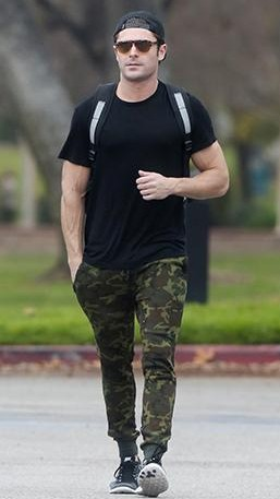 I am looking for similar military print pants and the black tee with it which Zac Efron is wearing - SeenIt