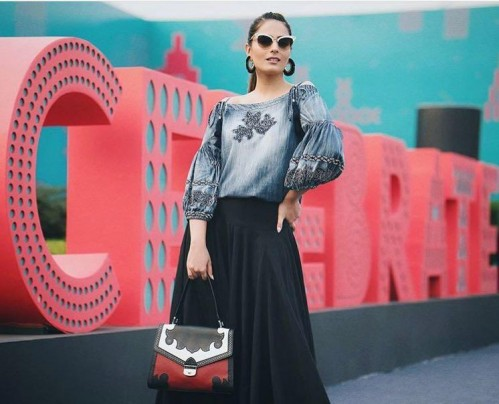 Yay or Nay? Blogger headtilt spotted wearing a signature denim top by Vineet Bahl during the Amazon Fashion Week - SeenIt