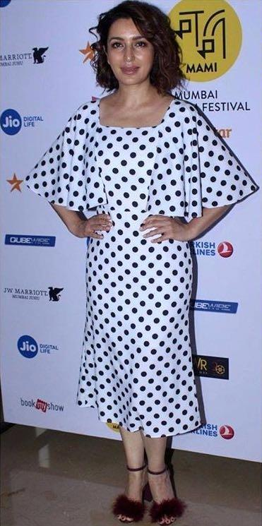 Yay or Nay? Tisca Chopra spotted wearing a polka dot print white Madison on peddar dress during the Mumbai Film festival 2017 - SeenIt