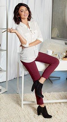 Help me find this white shirt, maroon pants and black boots that Sarah Hyland is wearing - SeenIt