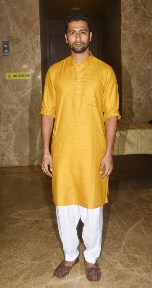 Yay or Nay? Vicky Kaushal wearing a yellow kurta pyjama outfit at the Ramesh Taurani diwali party recently - SeenIt