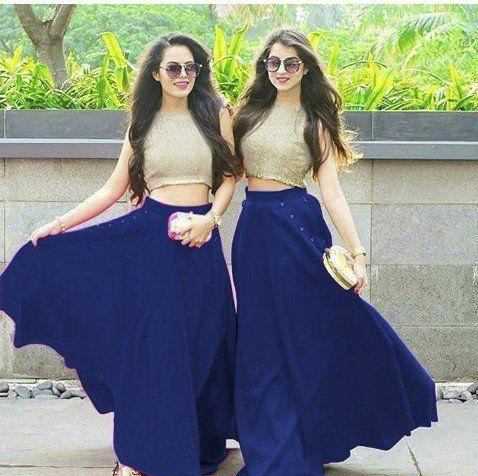 i m looking for this similar royal blue lehanga and golden crop top - SeenIt