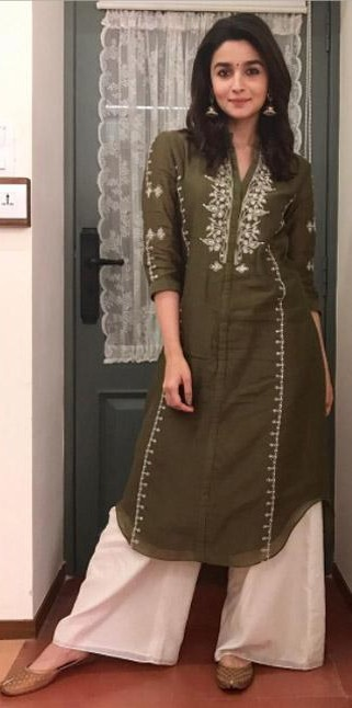 Want the olive green kurta and white palazzos which Alia Bhatt is wearing - SeenIt