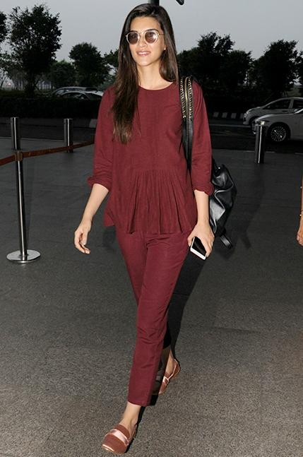 Want the maroon coord set which Kriti Sanon is wearing at the airport - SeenIt