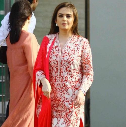 Want this red embroidered salwar kameez which Nita Ambani is wearing - SeenIt