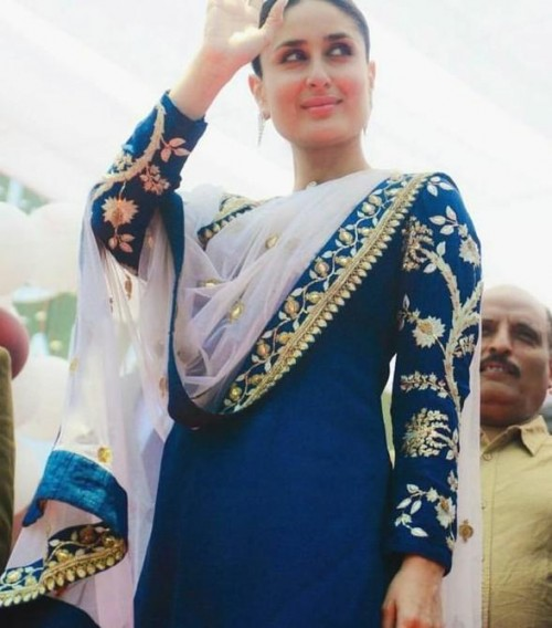 Want this navy embroidered salwar kameez which Kareena Kapoor is wearing - SeenIt
