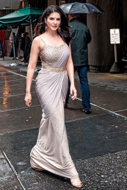 Looking for Gown look Designer Stitched Saree which Sunny Leone is wearing - SeenIt