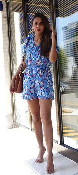 Looking for this blue floral romper that is seen in Aanamc - SeenIt