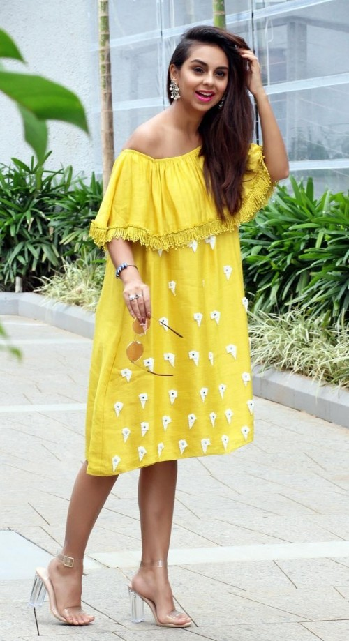 Help me find exactly same yellow off shoulder ruffle dress as seen in Aanamc - SeenIt
