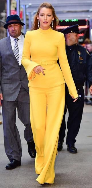 "Yay or Nay? Blake Lively wearing a yellow Co-ordinate attire one the sets of Good Morning America while promoting her movie ""All I See Is You"" - SeenIt"