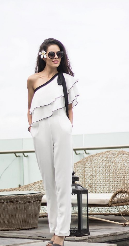 help me find a similar one shoulder white jumpsuit which aakriti rana gill is wearing! - SeenIt