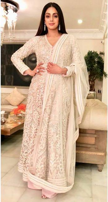 Help me find a similar off white embroidered anarkali suit like Sridevi is seen wearing recently - SeenIt