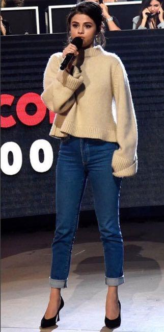 Selena Gomez's knitted sweater and ankle length denims is what i am looking for online - SeenIt