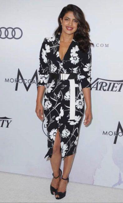 Yay or Nay? Priyanka Chopra wearing a black floral print midi dress at the Variety of women power luncheon in Los Angeles - SeenIt