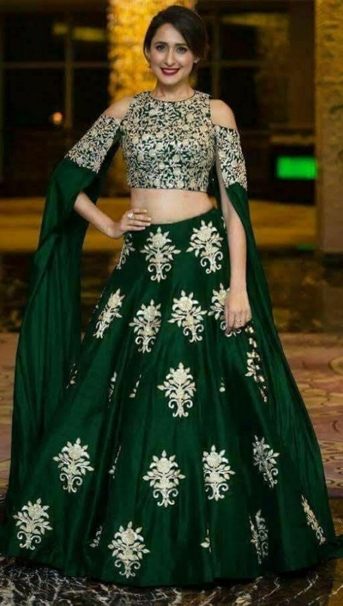 looking for the same green lehenga with a cold shoulder blouse - SeenIt