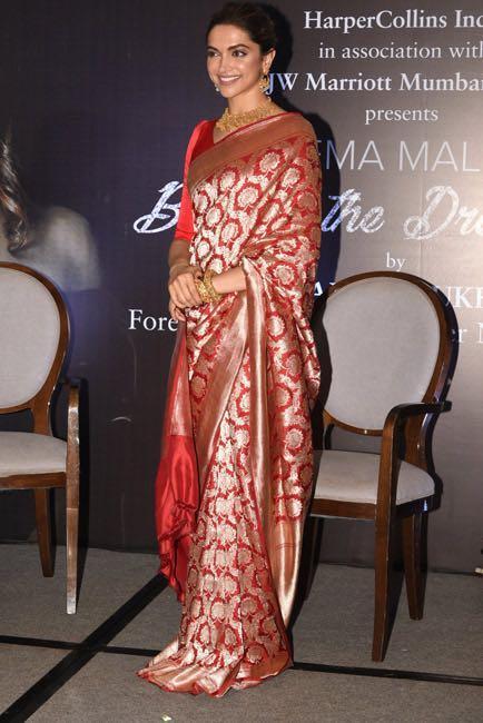 Help me find a similar silk saree like Deepika Padukone is wearing at the book launch of Hema Malini - SeenIt