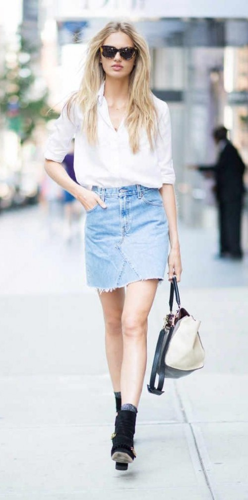 Help me find this white shirt and denim skirt with black boots that RomeeStrijd is wearing - SeenIt