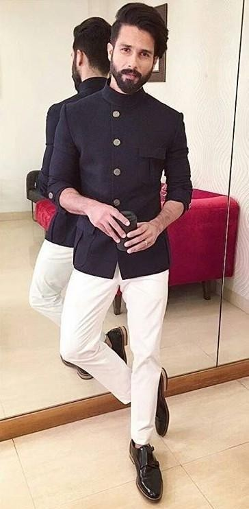 I am looking for this similar bandhgala like the one which Shahid Kapoor is wearing from Koffee With Karan  , if anyone can hrlp me out? - SeenIt