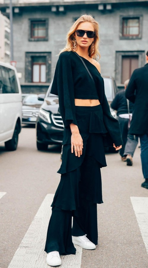 Looking for this multi-layers ruffle pants that Romee Strijd is wearing - SeenIt