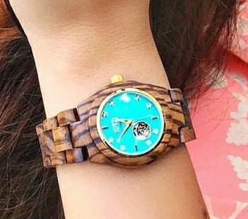 Want this aqua blue dial wood strap watch - SeenIt