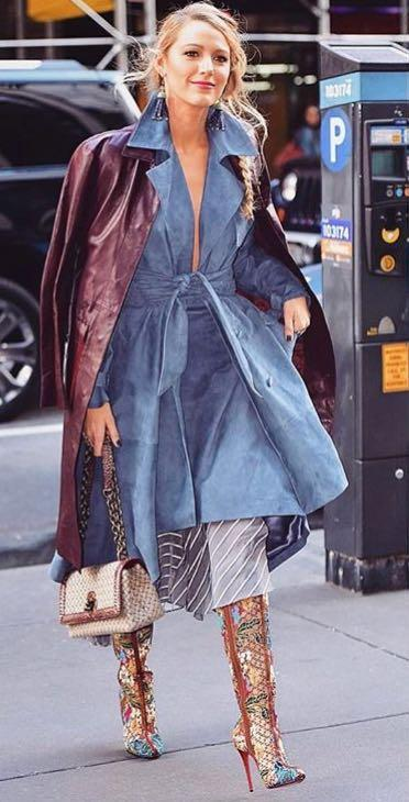Yay or Nay? Blake Lively spotted wearing a blue belted dress with a long brown jacket while promoting her movie All i see is you recently - SeenIt