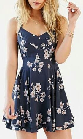 Similar dark blue floral dress. - SeenIt