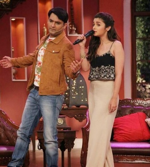 Want a similar black embroidered croptop and beige pants worn by Alia Bhatt on the tv show comedy nights with Kapil - SeenIt