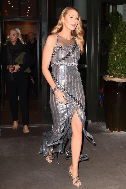 Yay or Nay? Blake Lively wearing a silver sequin shimmer slit dress while promoting her upcoming movie All i see is you - SeenIt