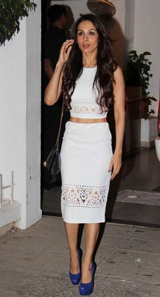 Looking for this white crop top with pencil skirt and blue heels that Malaika Arora Khan is wearing - SeenIt