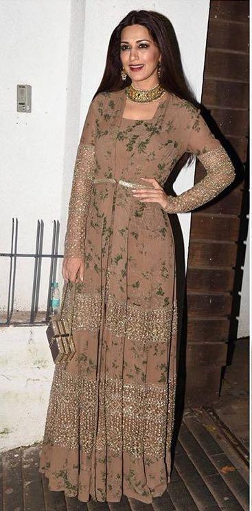 Yay or Nay? Sonali Bendre wearing a sabyasachi anarkali outfit on diwali last night - SeenIt