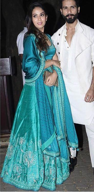 Yay or Nay? Mira Rajput wearing a blue silk Anita Dongre lehenga outfit on diwali last night - SeenIt