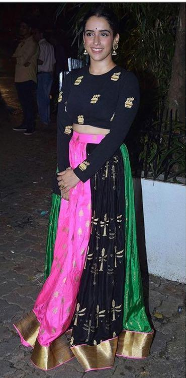 Yay or Nay? Sanya Mahotra wearing a pink and black printed house of masaba crop top and skirt outfit on diwali last night - SeenIt