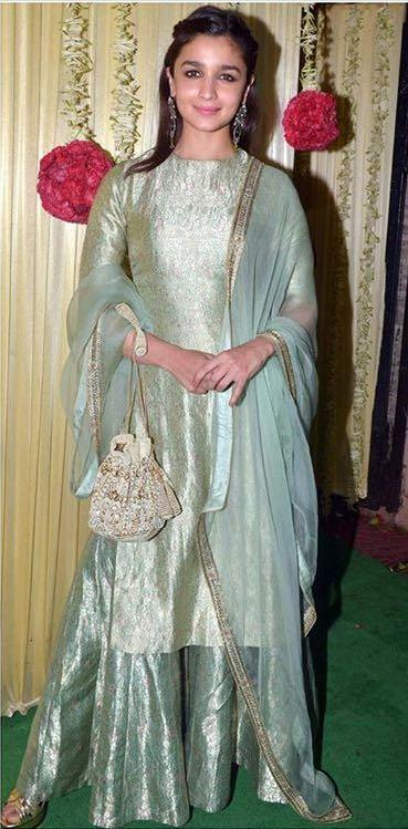 Yay or Nay? Alia Bhatt wearing a green silk attire at Ekta Ravi Kapoor's diwali party - SeenIt