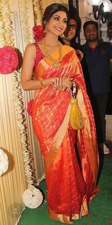 Yay or Nay? Shilpa Shetty wearing a red and golden saree by ram mango at Ekta Ravi Kapoor's diwali party - SeenIt