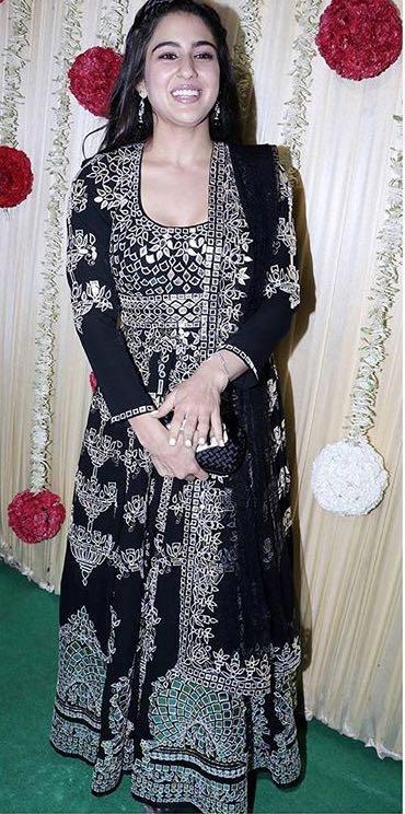 Yay or Nay? Sara Ali Khan wearing a black embroidered Abu Jani & Sandeep Khosla outfit at Ekta Ravu Kapoor's diwali party - SeenIt