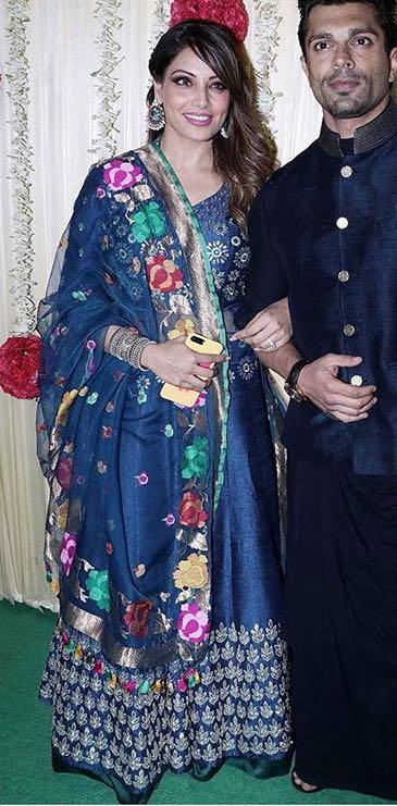 Yay or Nay? Bipasha Basu wearing a blue lehenga choli outfit at Ekta Ravi Kapoor's diwali party - SeenIt