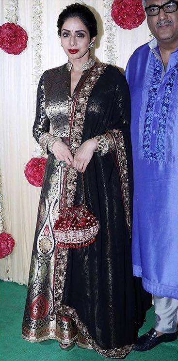 Yay or Nay? Sridevi wearing a black Manish Malhotra silk anarkali outfit at Ekta Ravi Kapoor's diwali party - SeenIt